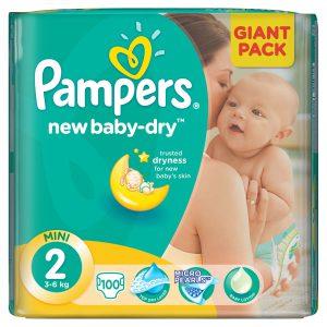 Scutece, Numarul 2, New Baby, 3-6kg, 100 bucati, Pampers