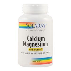 Calciu, Magneziu și Vitamina D Solaray, 90 capsule, Secom