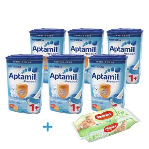 Oferta Aptamil 1+ * 800g (6 Cutii) +1 Pachet Servetele Huggies