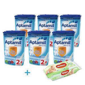 Oferta Aptamil Junior 2+ * 800g (6 Cutii) + 1 Pachet Servetele Umede Huggies