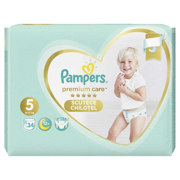 Pampers 5 Premium Care Pants * 34 Bucati + 1 Pachet Servetele Pampers Cadou