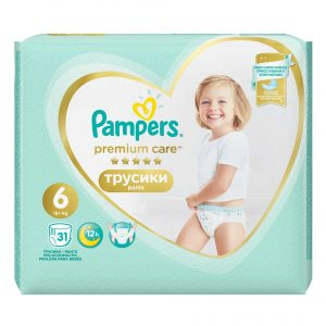 Pampers 6 Premium Care Pants * 31 Bucati + 1 Pachet Servetele Pampers Cadou