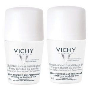 Vichy Deo Roll-on Antiperspirant 48h Fara Parfum * 50ml (1+1)
