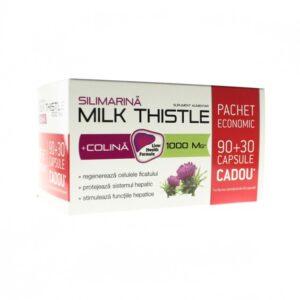 Silimarina + Colina Milk Thistle 1000 mg, 90 + 30 capsule, Zdrovit
