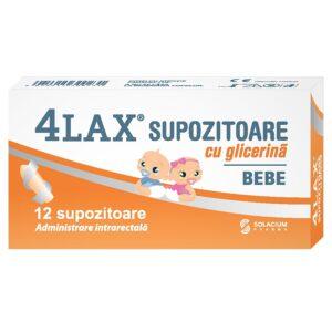4 lax supozitoare glicerina bebe, 12 supozitoare, Solacium
